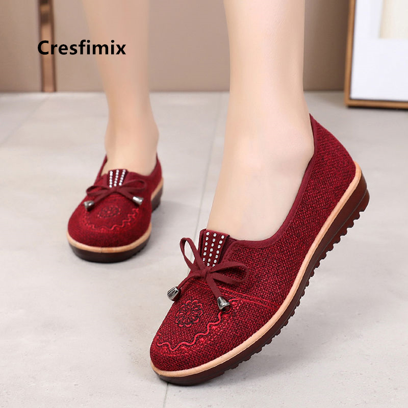 Cresfimix Women Classic Ballet Dance Loafers Ladies Casual Spring & Summer Slip On Brown Shoes Cool Flats Zapatos De Mujer A5767
