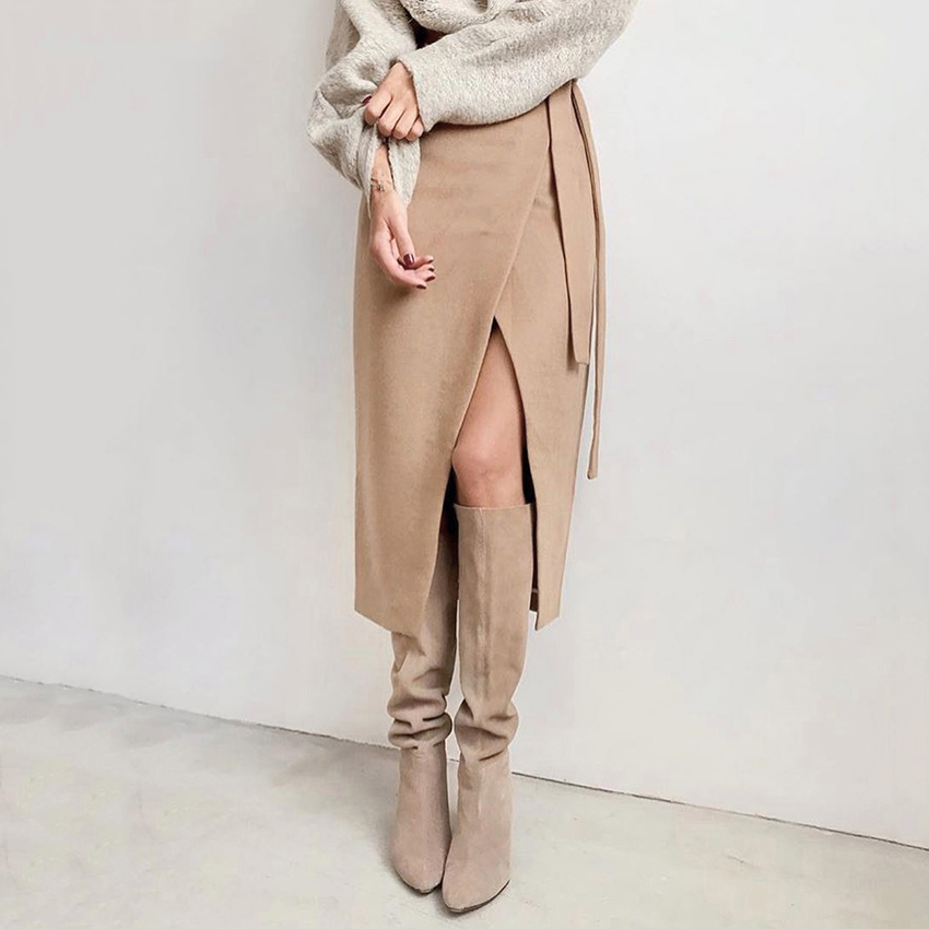 Lace Up Women High Waist Midi Skirt Office Ladies Elegant 2019 Khaki Suede Long Skirt Women Autumn Winter Casual Wrap Skirt