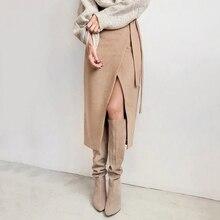 Lace Up Women High Waist Midi Skirt Office Ladies Elegant 2019 Khaki Suede Long