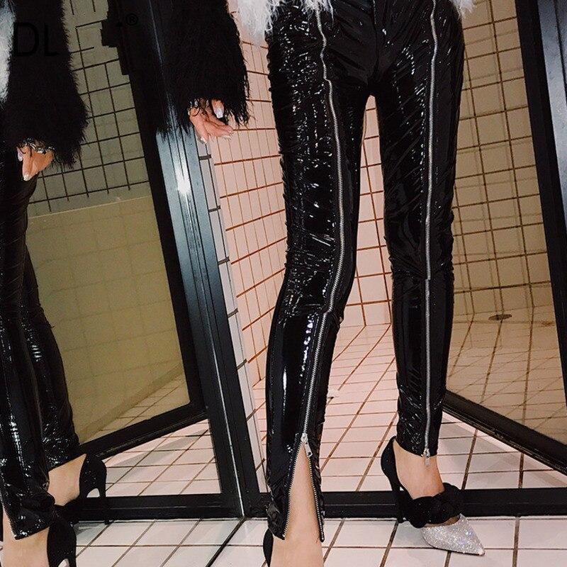 2020 nuevo patrón de tendencia coreana PU pantalones de cuero mujeres se ajustan brillante elástico Delgado cremallera Split Wild Small Feet W054 BIGFIRSE zapatillas de deporte para Hombre, venta al aire libre, Zapatos de tendencia transpirable para Hombre, mocasines, nuevos Zapatos para Hombre, Zapatos de moda para hombres con cordones