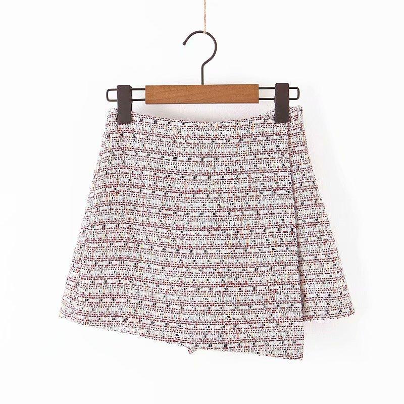 Suit-dress 2019 Small Real High Waist Irregular Coarse Wool Culotte Women Wide Leg   Pants     Capri   Bottoms