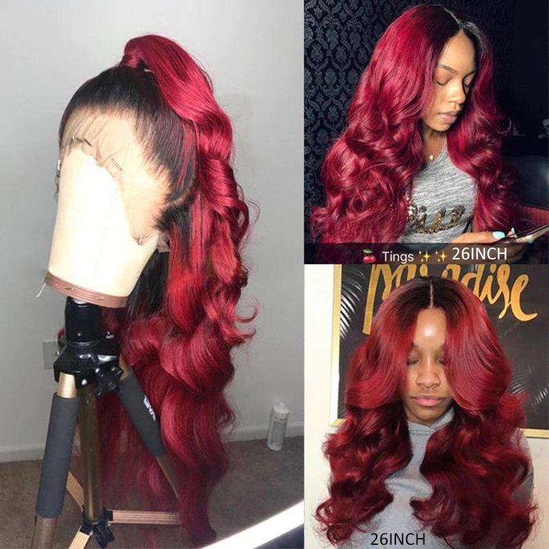Brazilian Pre Plucked Lace Wigs With Baby Hair Ombre 99j Burgundy Body Wave 13x4 Lace Front Wigs For Women 150% Remy Hair KEMY