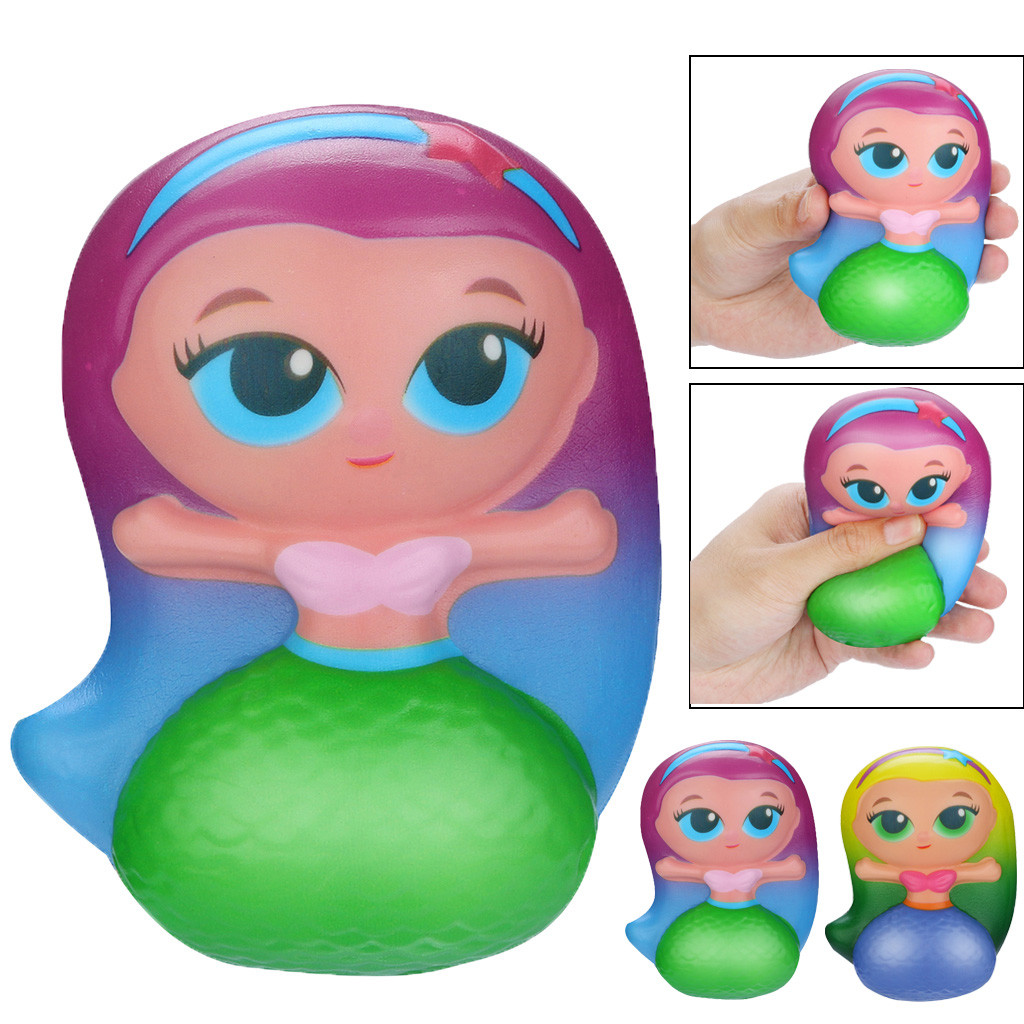 Stress Relief Toys Soft Squeeze Toys Squishy Kawaii Mermaid Slow Rising Cream Scented Stress Relief Toys GiftsW806