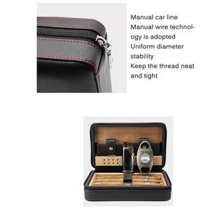 Cigar Humidor Case Portable Cedar Wood Leather Travel Humidor Humidifier Set Gift Box