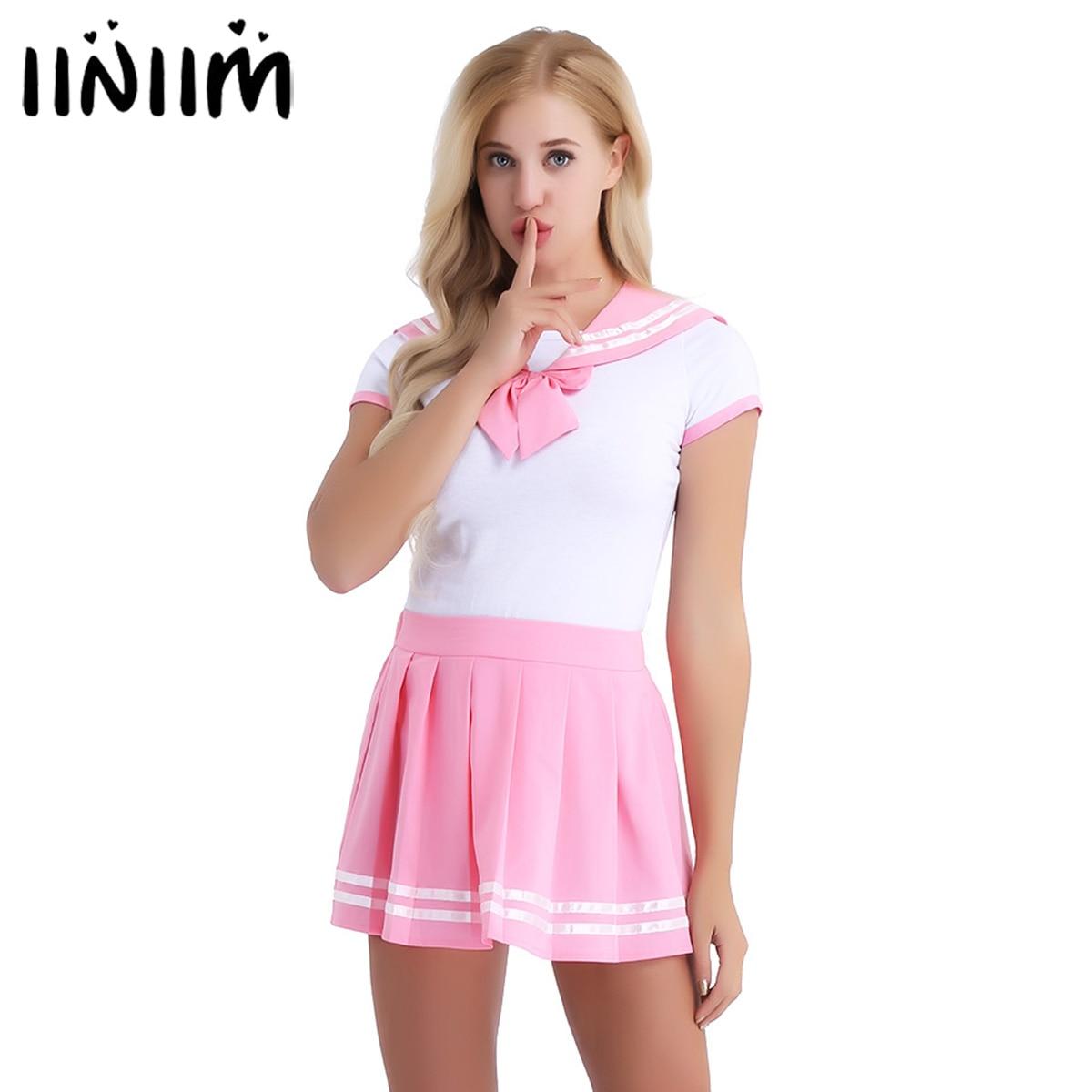 Iiniim feminino adulto roupas de bebê aberto virilha escola meninas sexy macacão com mini saia plissada cosplay trajes festa clubwearFantasias Sexy   -