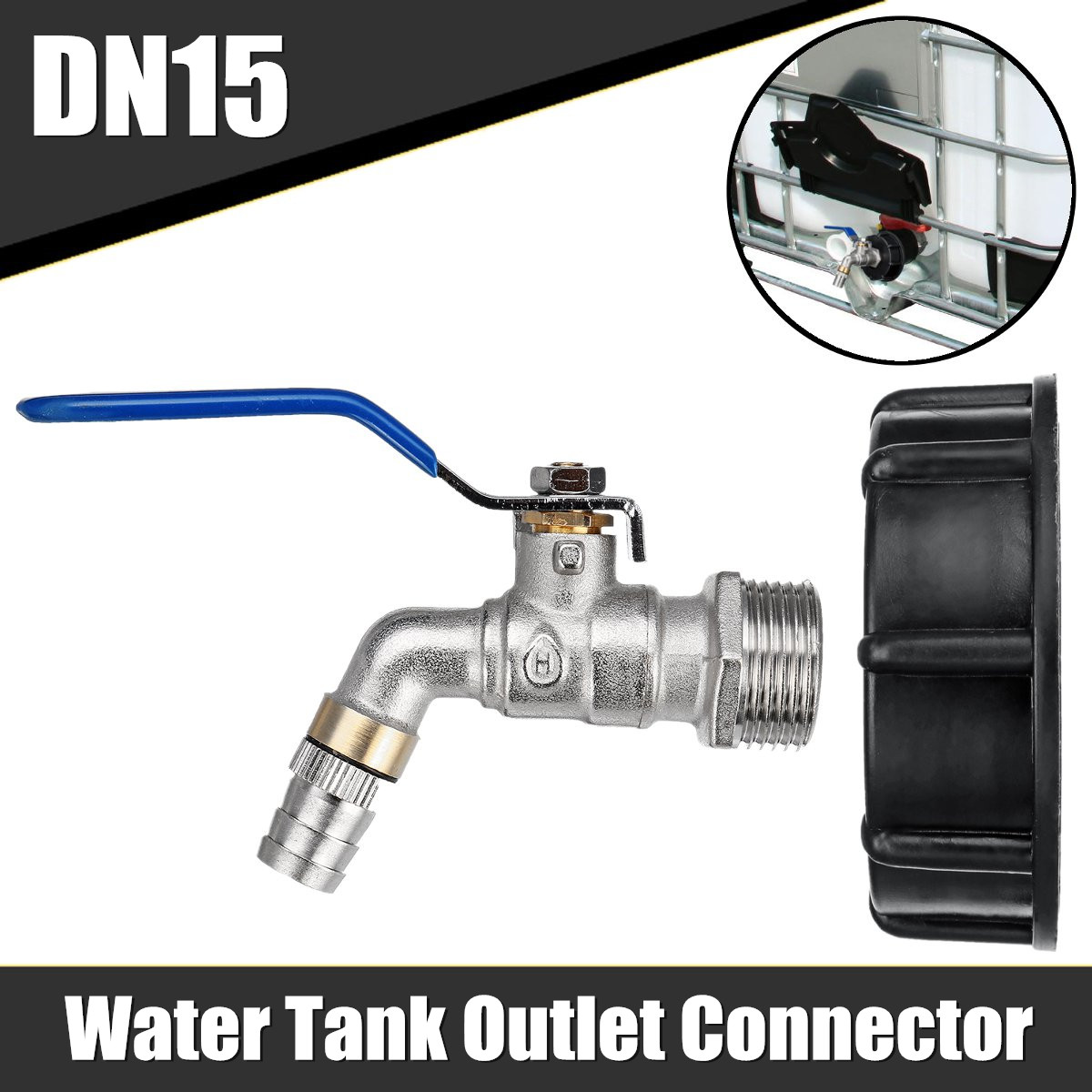 Aletler'ten Alet Parçaları'de S60X6 DN15 su deposu çıkış konektörü dişi montaj için kapaklı IBC tankı aracı parçaları title=