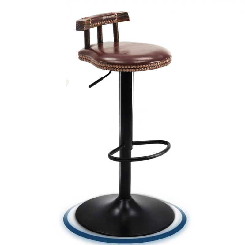 Nordic Solid Wood Bar Chair Rotatable Retro Simple Creative Leisure Household Front Desk Bar High Stool