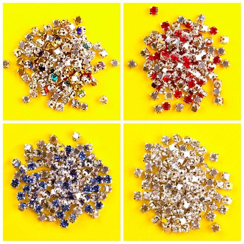 DIY 100p color coser en Diamante de cristal joyas de plata taza garra Montees 4 agujeros piedra para coser cuentas manualidades para ropa