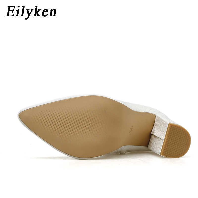Moda beyaz yılan tahıl patik yeni kadın yarım çizmeler kış kadın sivri burun yüksek topuklu bayanlar Zip çizmeler ayakkabı kadın