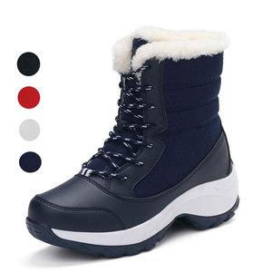 Image 1 - Женские ботинки, зимние водонепроницаемые ботинки, женская обувь 2019, женские зимние ботинки на платформе, сохраняющие тепло ботильоны, женские ботинки большого размера 41 42
