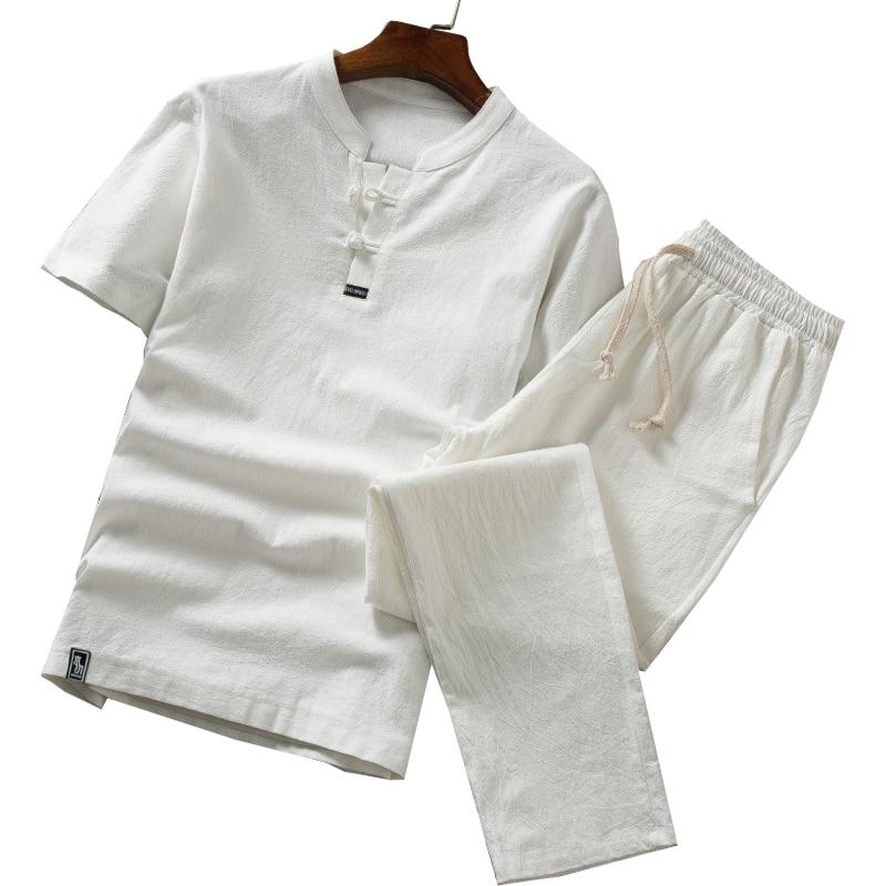 Men's Cotton Linen Top T-shirt Suit Large Size M-5XL/V-neck Solid Color T-shirt Male Chinese Style Casual Two-piece Suit
