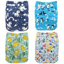 Ohbabyka детские подгузники многоразовые пеленки с единорогом тканевые подгузники для новорожденных Регулируемые моющиеся карманные подгузники