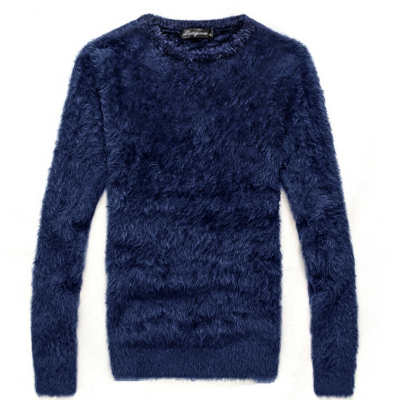 New Autumn Winter Sweater Men's Thick Mohair Long-sleeved O-neck Knit Pullover Fashion Hot Slim Thick Warm Sweater Male J715