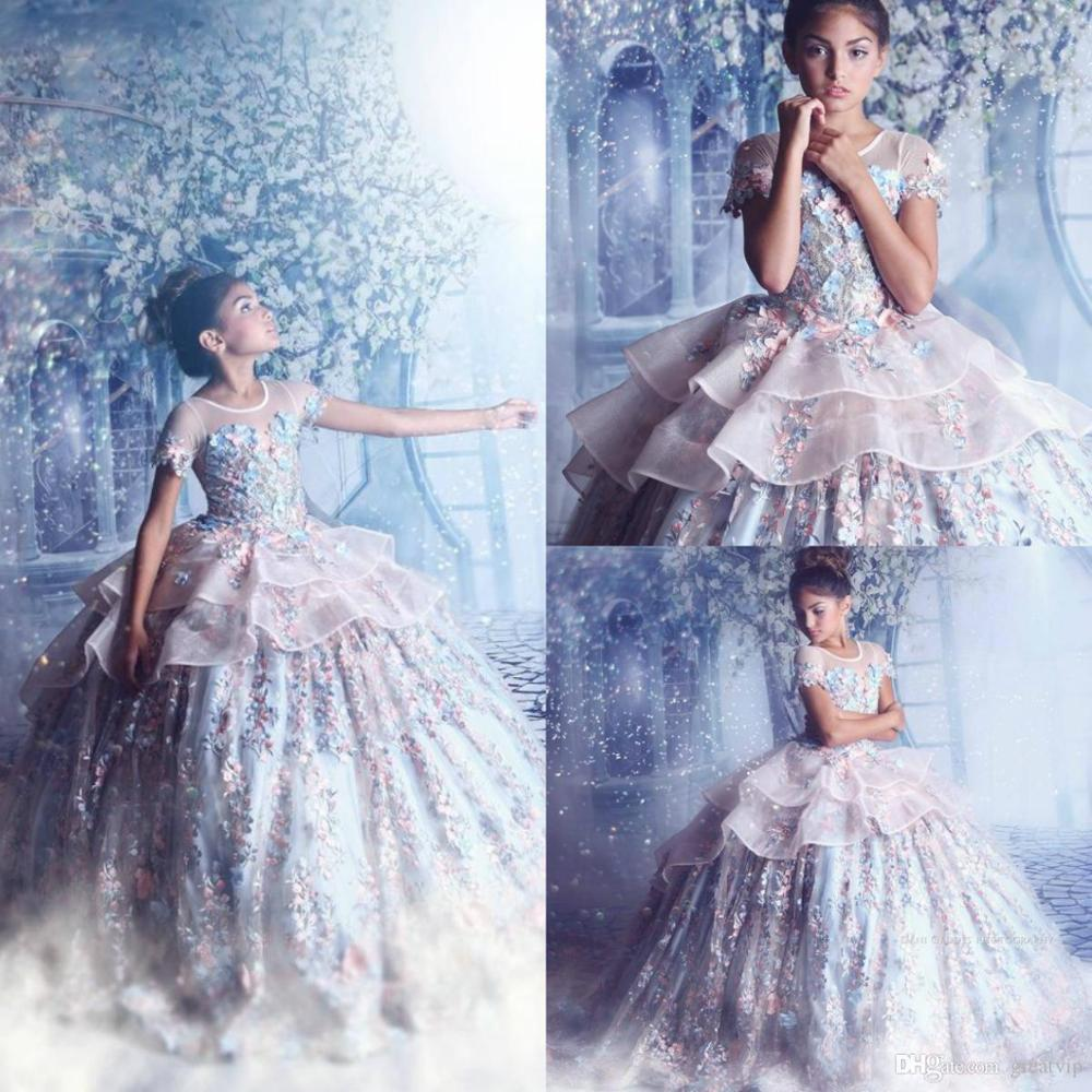 Princess Flowers Little Girls Pageant Dresses Extravagant Couture Ball Gown Beads Applique Teen Prom Gowns For Wedding Dress