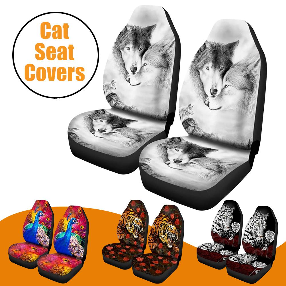 2PCS Cartoon Car Seat Cover Breathable Protective Pad With Tiger Leopard Prints Universal Size Car Seat Covers Universal Fit