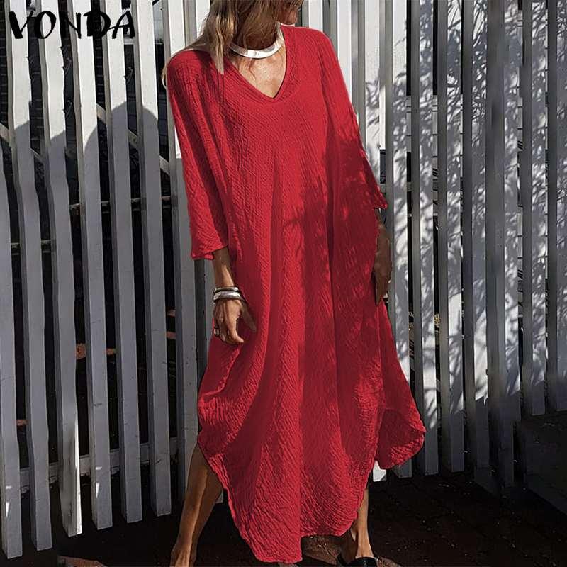 VONDA 2020 Women Vintage Cotton Dress Casual Loose V Neck Irregular Holiday Kaftan Maxi Dress Bohemian Beach Plus Size Sundress