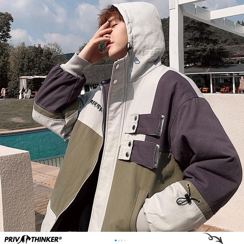 Privathinker Harajuku Men's Jackets Autumn Korean Men Women Oversized Hooded Coats 2020 Streetwear Man Casual Outwear Jacket Top