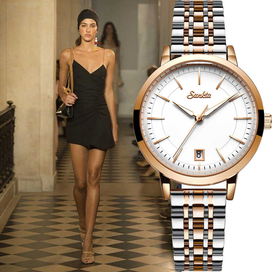 Sunkta Rose Gold Wanita Baja Tahan Karat Jam Tangan Wanita Wanita Berjaga-jaga Watch Wanita 2020 Fashion Mewah Blaus Feminino + Gelang