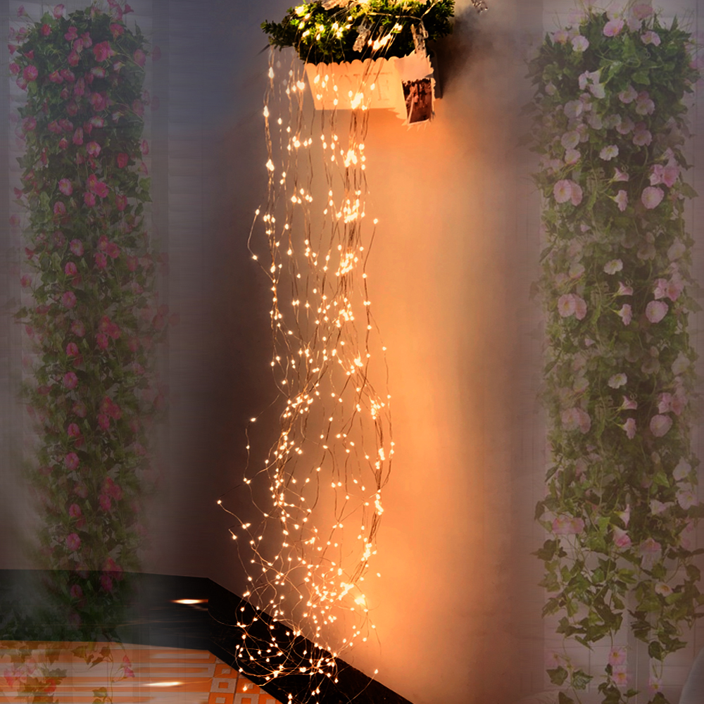 LED Fairy Vines Copper Wire String Light 2M 5/10/15/30 Branch EU Plug 12V Starry Garland For Bar Xmas Wedding Festival DIY Decor