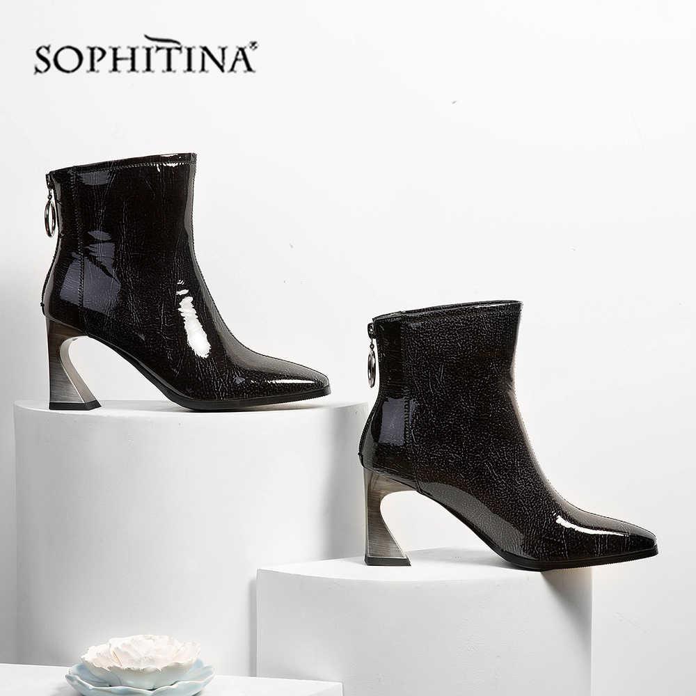 SOPHITINA sivri burun kadın botları sıcak el yapımı rugan yüksek topuk ayakkabı yeni moda heteromorfik topuk bayan botları MO355
