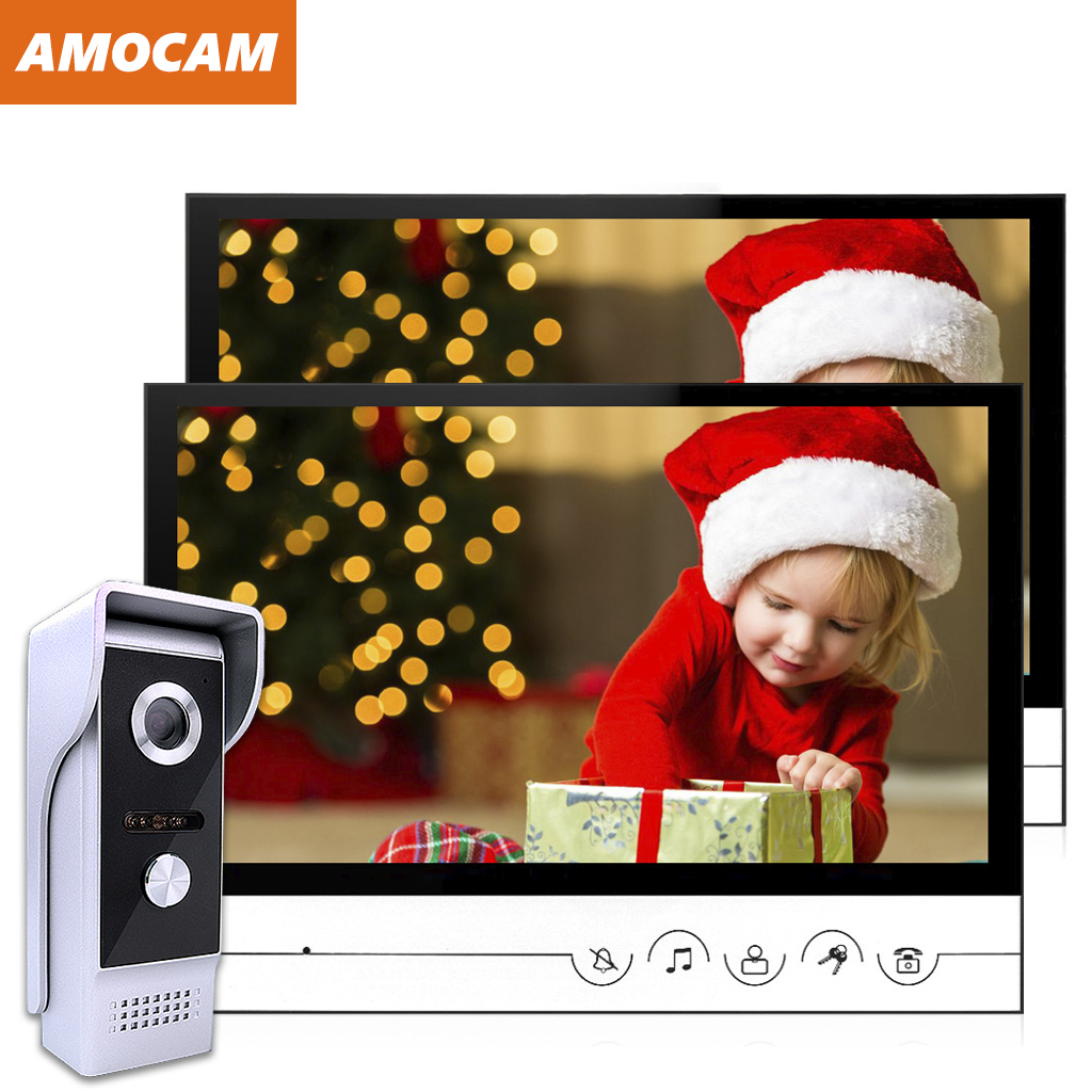 9 Inch Video Door Phone System Wired Video Intercom Video Doorbell Alloy IR Camera Remote Unlock 1 Camera / 2 Monitor