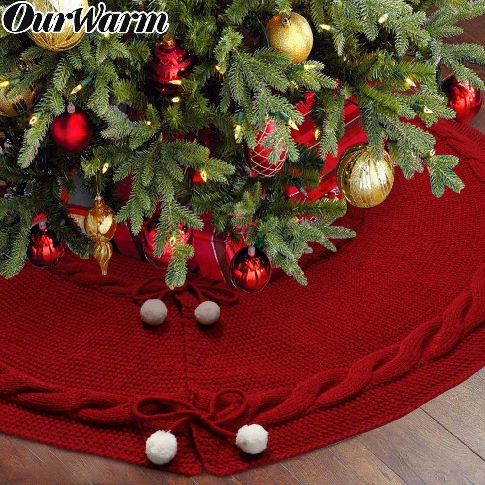 OurWarm Ruffled Skirt for Christmas Tree Under Knitting Party Ornaments Decor Home Xmas