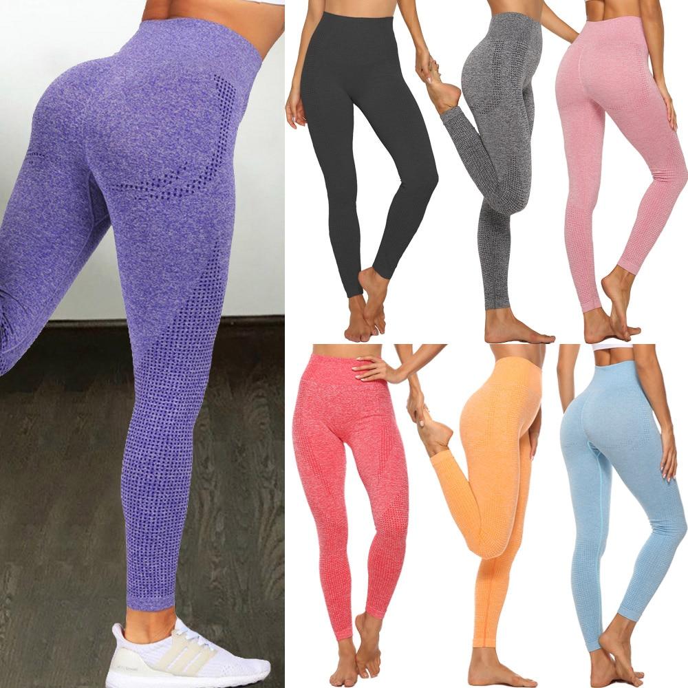 Бесшовные леггинсы с высокой талией, Леггинсы пуш-ап, спортивные женские штаны для фитнеса, бега, йоги, энергетические эластичные брюки, кол...