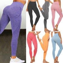 Yüksek bel dikişsiz tayt şınav legging spor kadınlar Fitness koşu Yoga pantolon enerji elastik pantolon spor kız tayt