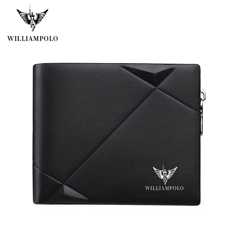 Williampolo Men's Slim Wallet Genuine Leather Mini Purse Casual Design Bifold Wallet Brand Short Slim Wallet