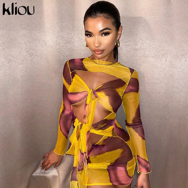 Kliou Mesh Fabic Tied Front Hollow Out Printed Mini Dress Women See Through Stretchy Skinny Tassel Ruffles Sexy Party Clubwear 1