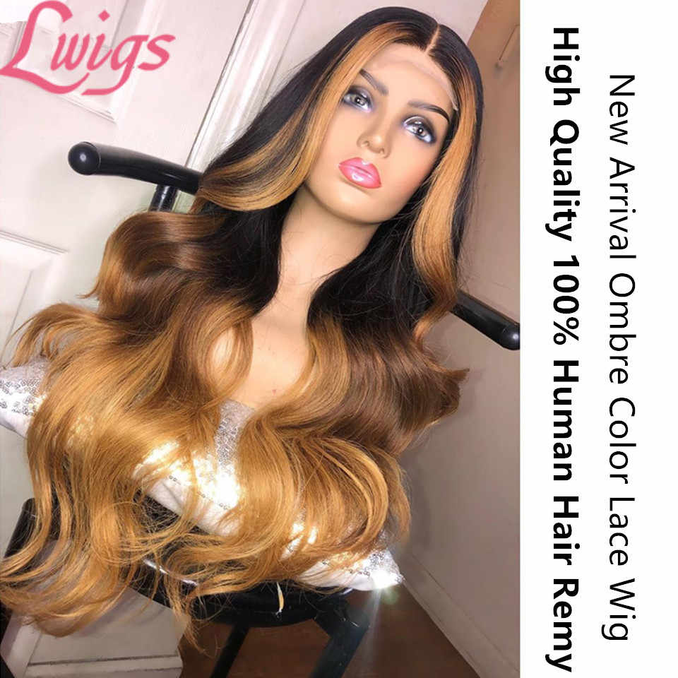 Braziliaanse Remy Haarkant Golvend Ombre Blonde Highlights Kleur 180% Dichtheid 360 Kant Frontale Pruiken Midden Deel Pre geplukt