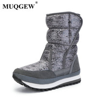 New Winter Women snow boots female Thickened cotton boots in middle Flat cotton shoes Waterproof winter snow boots girl shoes