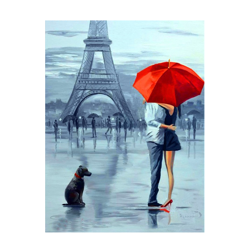 Couple Rain Umbrella Oil Paintings Printed on Canvas 10