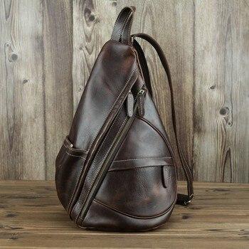 Man Backpack Genuine Leather Shoulder Strap Zipper Crossbody Bag Ipad Phone Pocket Pouch Business Travel Mochila Escolar Gifts