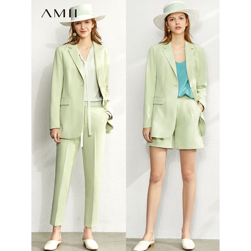 Amii Minimalism Sping Summer Fashion Suit Set Women Lapel Suit Coat High Waist Causal Pant Chiffon Shorts 12020050