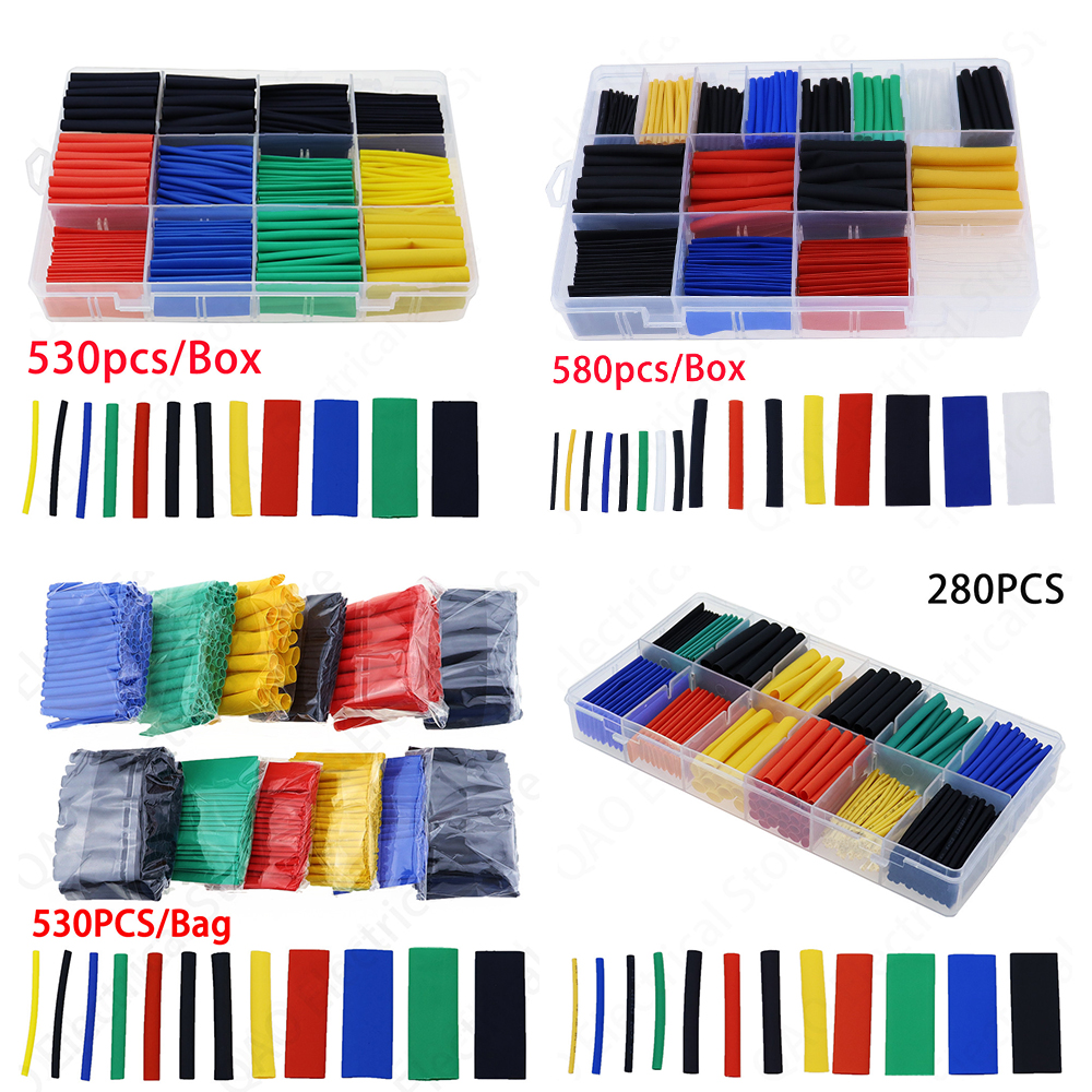 580pcs 530pcs 280pcs 127pcs 2:1 Wrap Wire Cable Insulated Polyolefin Heat Shrink Tube Ratio Tubing Insulation Shrinkable Tubes