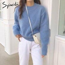 Syiwidii – pull doux et chaud pour femme, vêtement décontracté, couleur unie, vert, rose, bleu, mode japonaise, printemps, hiver, 2021