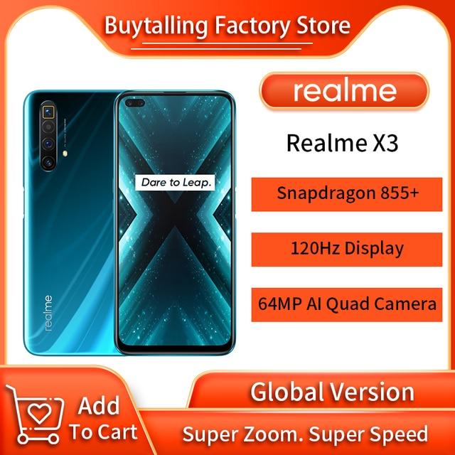 100% Original Global Version Realme X3 MobilePhone 6.6 inch 120Hz Snapdragon 855 Plus Octa Core 60X Super Zoom NFC Russia Versio