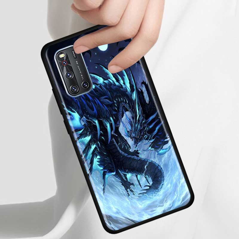 Thin Case For Vivo S1 Pro Y12 Y15 Pro Y17 Y19 Z6 5G Y30 Y50 V19 Iqoo 3 5G Z1 Phone Fall Cover Shell Dragon