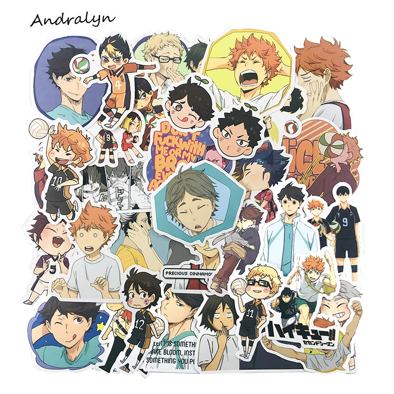 50pcs/set Haikyuu!! Anime Stickers Volleyball For Mobile Phone Laptop Luggage Skateboard Decal Stickers