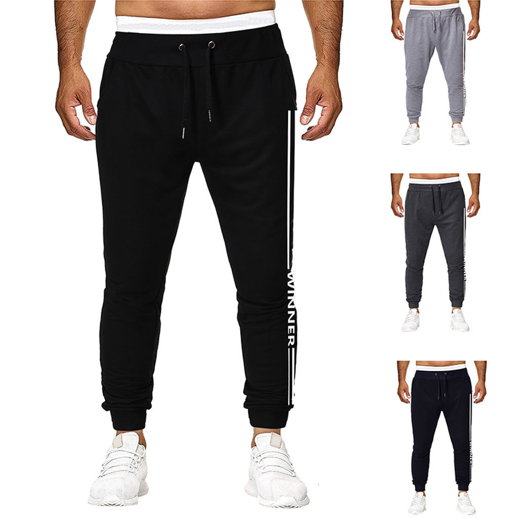 Men Joggers Sweatpants Men's Jogger Trouser Men Fashion  Pure Color Overalls Casual Pocket Sport Work Casual Trouser Pants S-2XL