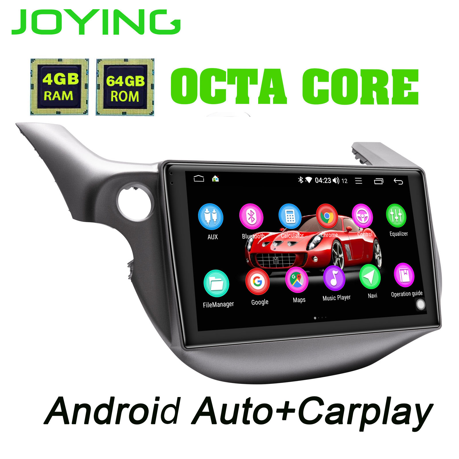 Joying 64G ROM 10.1 Android Car Radio Car DVD Player For Honda Fit 2008-2013 1 Din IPS Screen GPS Navigation Bluetooth Carplay image