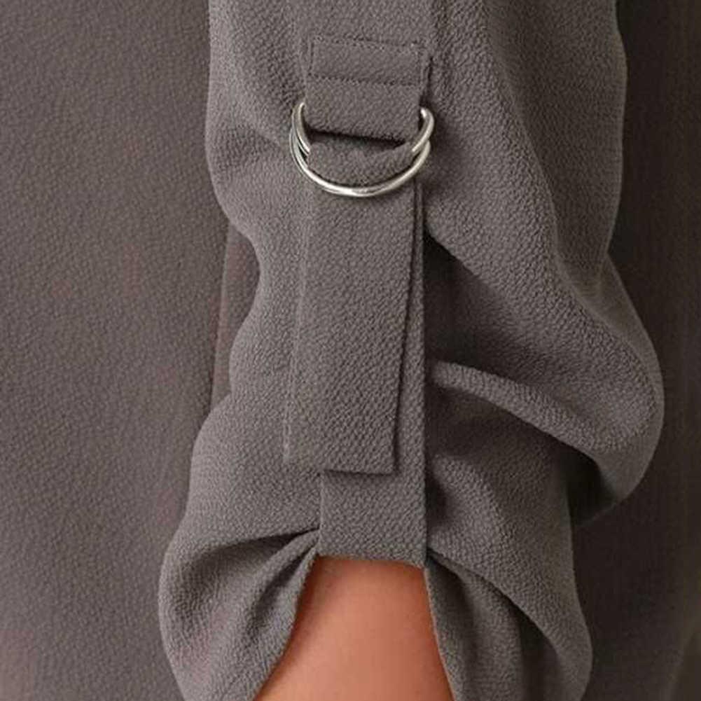 PLUS ขนาดผู้หญิงสีทึบ V-คอยาวแขนเสื้อไม่สม่ำเสมอเสื้อหลวม