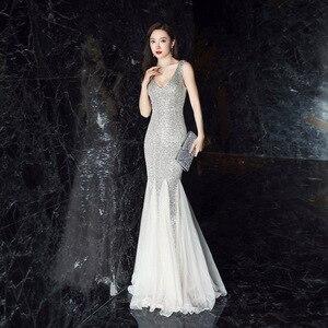 Image 5 - Женское вечернее платье русалка, Элегантное Длинное платье с глубоким v образным вырезом, украшенное блестками, с оборками, деловое платье, на лето, 2019
