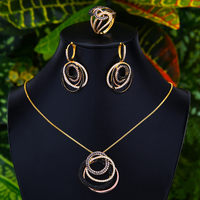 GODKI Korean Trendy 3pcs Crossover Chunky Jewelry Set Women Wedding Cubic Zirconia Dubai Gold Necklace Earring Ring Jewelry Sets