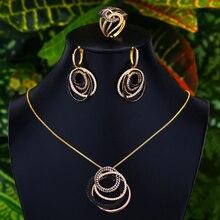 GODKI קוריאני טרנדי 3pcs Crossover שמנמן תכשיטי סט נשים חתונה מעוקב Zirconia דובאי זהב שרשרת עגיל טבעת תכשיטי סטים