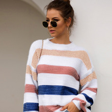 Rainbow Pullovers Striped Crop Top Sweater Women Jumper Knit Winter Clothes O Neck Casual Loose Casaco Feminino