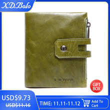 X.D.BOLO Wallet Women Genuine Leather Card Holder Wallets Female Zipper Clutch Ladies Purses with Coin Pocket Womens Wallet