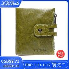 X.D.BOLO محفظة نساء حافظة بطاقات جلدية حقيقية محافظ الإناث سستة مخلب السيدات المحافظ مع عملة جيب المرأة المحفظة