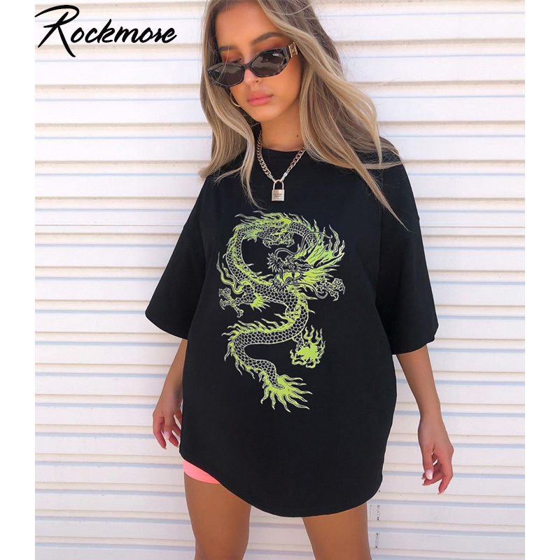 Rockmore Dragon Print T-Shirt Women Plus Size Short Sleeve Casual Streetwear Oversized Long Shirts Basic Tshirts Ladies Summer